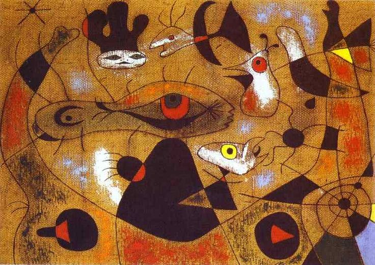 A Dew Drop Falling from a Bird s Wing Wakes Rosalie, who Has Been Asleep in the Shadow of a Spiders Web, 1939 - Joan Miro - 1200artists.com