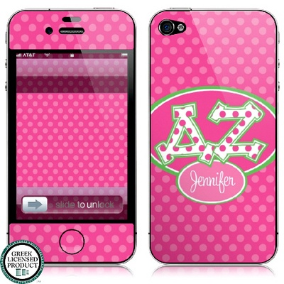 Delta Zeta Letters on Dots Tech Skin... great sorority product to personalize for yourself or a fellow sister or graduate!