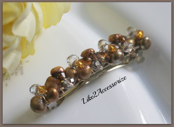 Fresh Water Ivory Pearl Barrette Bridesmaid by Like2Accessorize, $22.00