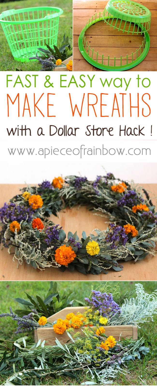 How to Make Wreath Super Fast  Easy: A Dollar Store Hack - turn a laundry basket into wreath makers that can be used again and again! - A Piece Of Rainbow