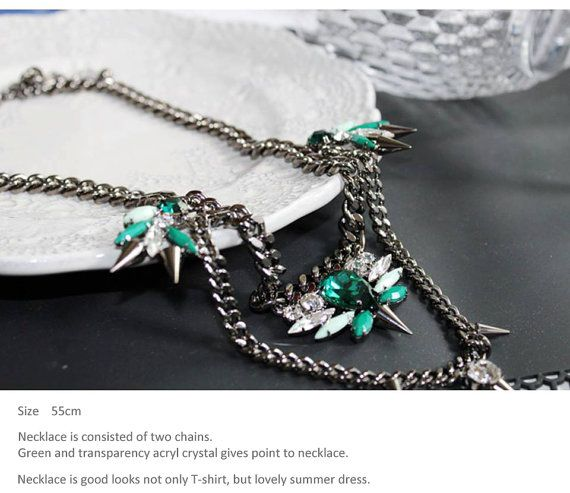Spike Green Necklace by Myfunny on Etsy, $44.47