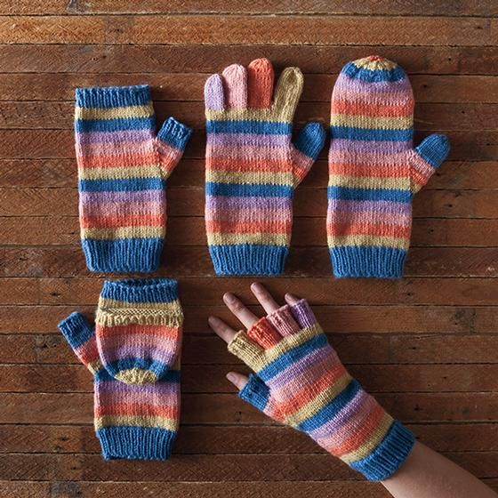 Line by Line Mittens, free 5-in-1 pattern from KnitPicks: mitts, gloves, mittens, convertible mittens, and fingerless gloves.