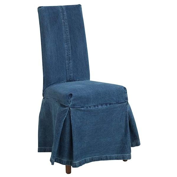 Denim Slip Cover Parsons Chair In Dig O Red Velvet