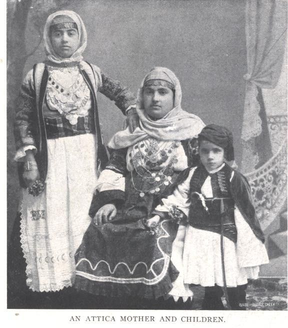 An Attica mother and children from an article taken from a magazine dated 1909.