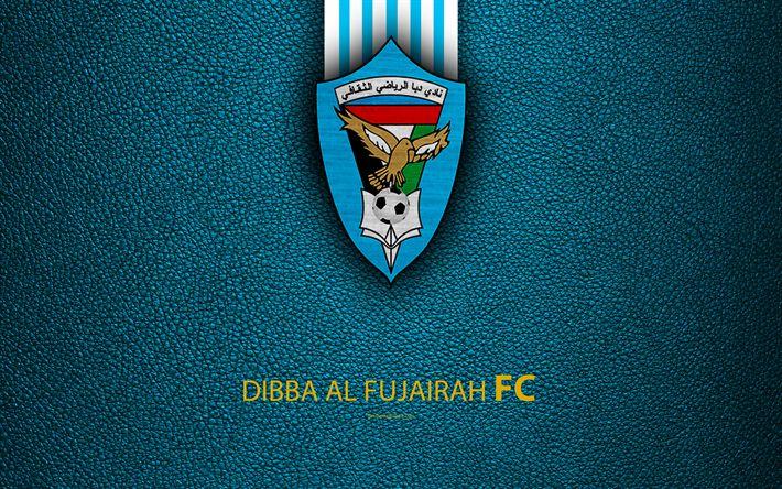 Download wallpapers Dibba Al Fujairah FC, 4K, logo, football club, leather texture, UAE League, Fujairah, United Arab Emirates, football, Arabian Gulf League