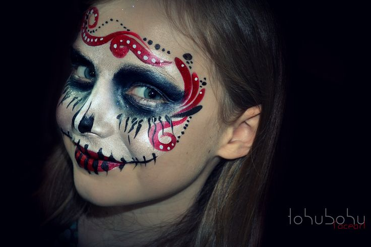 facepainting sugar skull for young girls maquillage squelette mexicain pour jeunes filles. Black Bedroom Furniture Sets. Home Design Ideas
