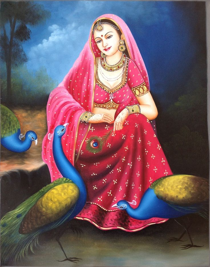 Rajasthani Lady Art Handmade Indian Nayika Damsel Embossed Canvas Oil Painting