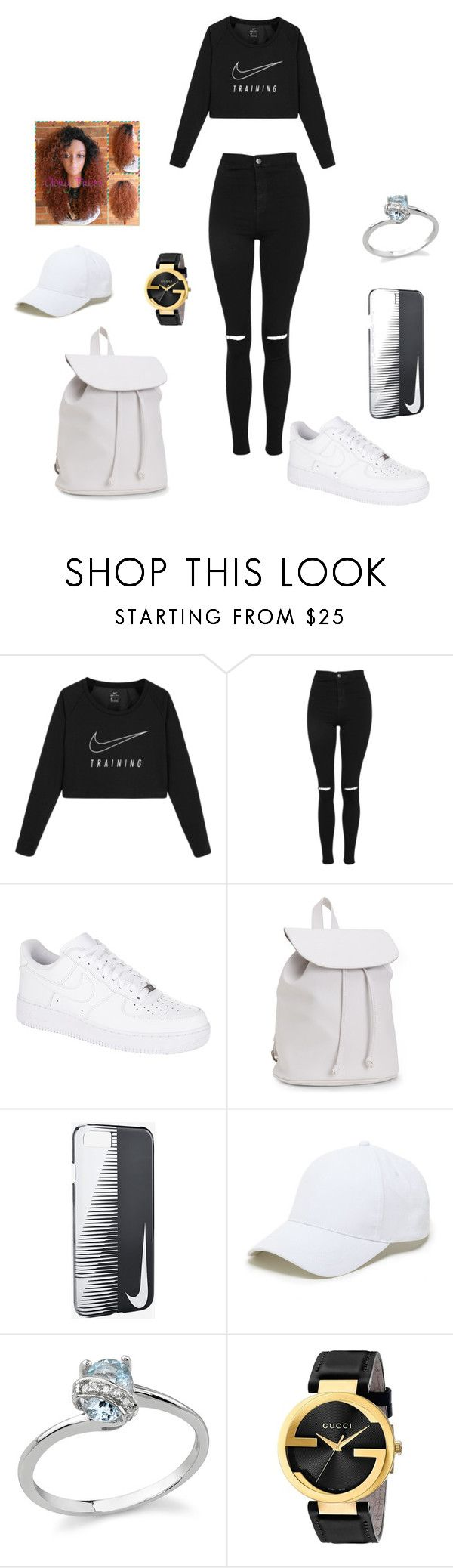 """""""nikes"""" by malachiaewarrenwifeyjunnewarre on Polyvore featuring NIKE, Topshop, Aéropostale, Sole Society and Gucci"""
