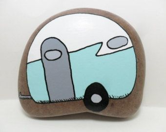 Hand Painted Rock Vintage Trailer Turquoise Blue White Handpainted Garden Art Paperweight Doorstop Mod Painted Stone Retro Mid Century