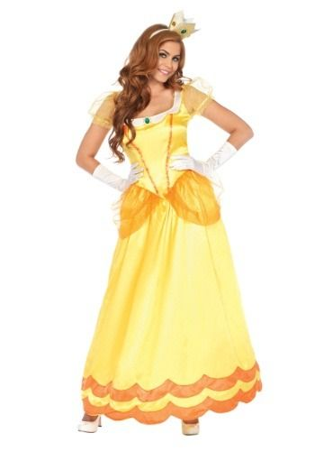 This Women's Sunflower Princess Costume will give you the look of a classic video game damsel in distress!