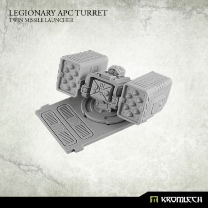 This set contains one resin Legionary APC turret armed with Twin Missile Launcher. Each set contains turret and APC top plate. Designed to fit futuristic 28mm heroic scale vehicles.