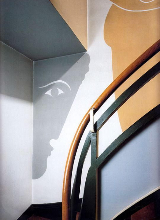 OSCAR SCHLEMMER, Wall murals at the Rabe House by Adolf Rading, 1928-1930, Zwenkau, Germany.