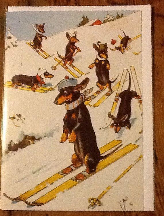 Skiing Dachshund Lovely Vintage Christmas Card By Crazycatchap 2 25 Vintage Dachshund Dachshund Dachshund Art