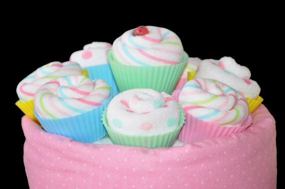 Washcloth Cupcakes Mini and Full Size by TopsyTurvyDiaperCake