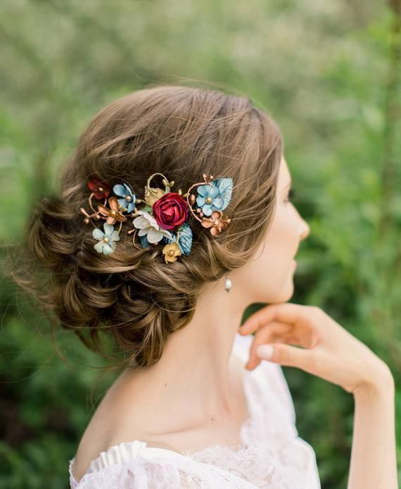 Image 0 Floral Hair Clip Turquoise Hair Flowers In Hair