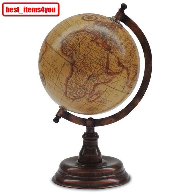 Vintage World Globe Map Spinning Shelf Decorative Antique
