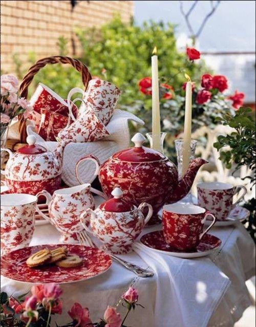 red and white tea set