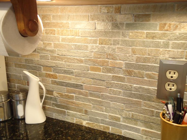 Stone Backsplash Tile Kitchen Famous Stacked Stone Kitchen ...