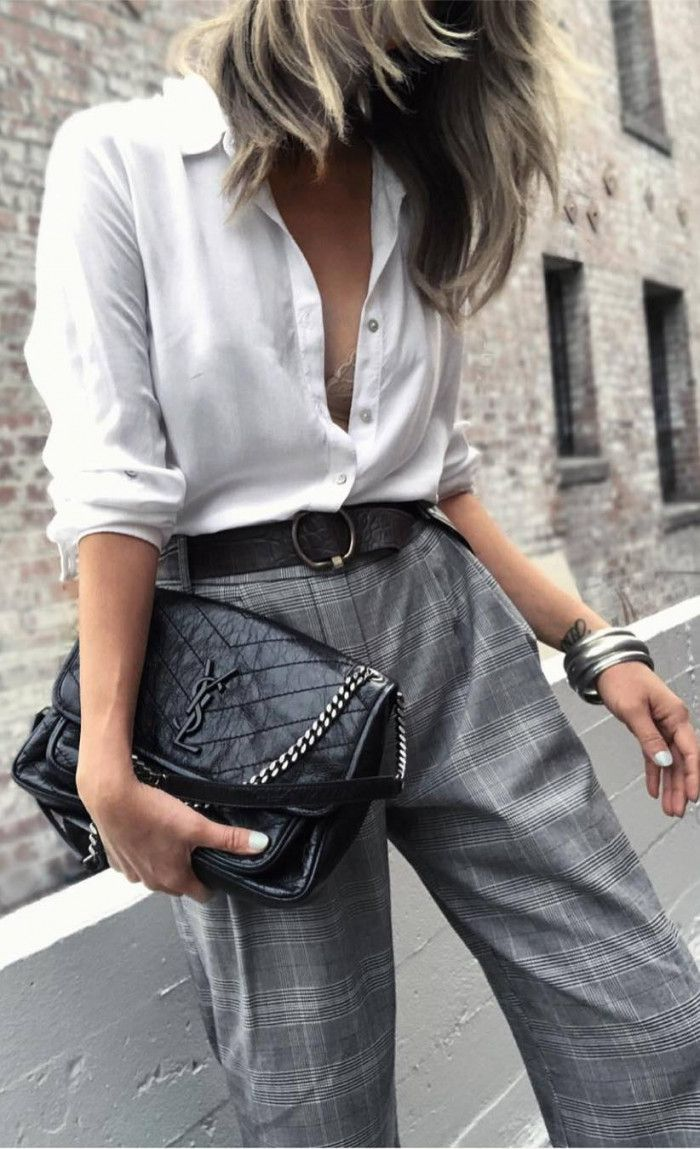 what to wear with a white shirt : bag and plaid wide pants