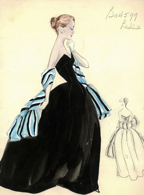 Evening gown sketch by Leslie Morris for Bergdorf Goodman, 1950s via theniftyfifties #vintage #fashion