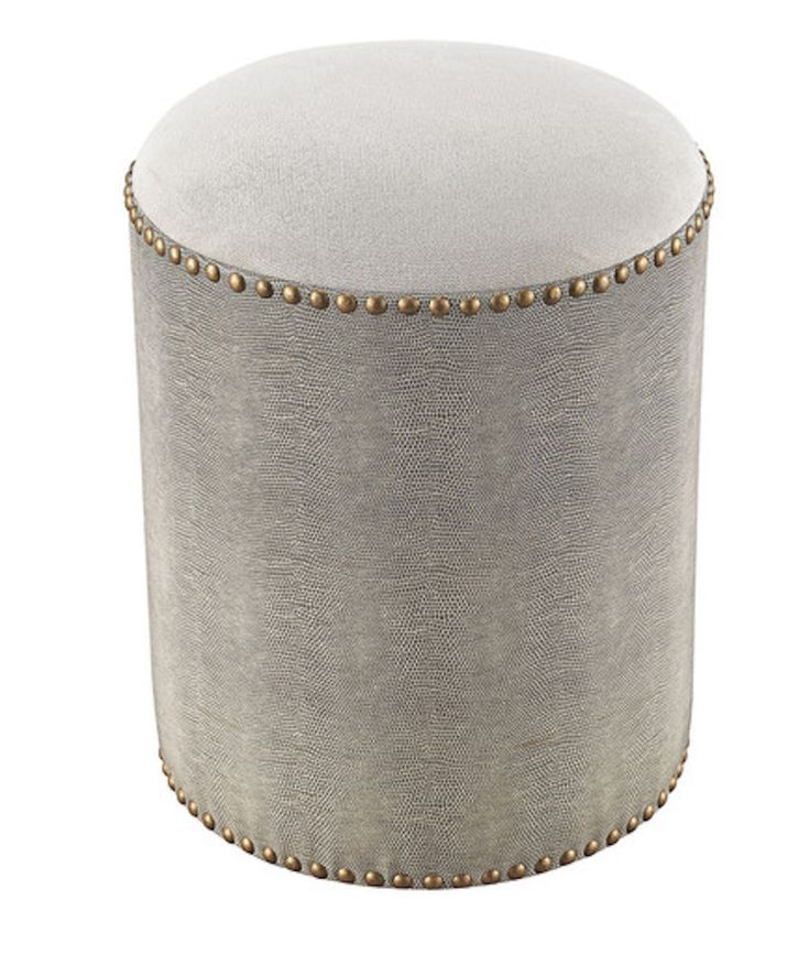 Horchow Replica Gray Leather, White Linen & Brass Nailhead Vanity Stool Ottoman  #purehome