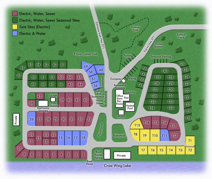 Crow Wing Lake Campground Layout Big Tent camping, Rv