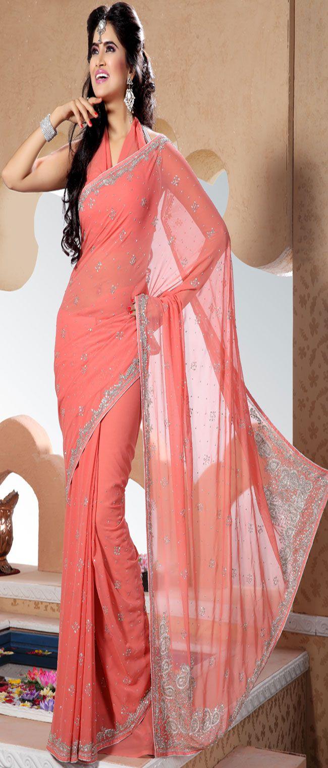 Designer Rose Pink Chiffon Saree with Blouse - IG5025 USD $ 117.93