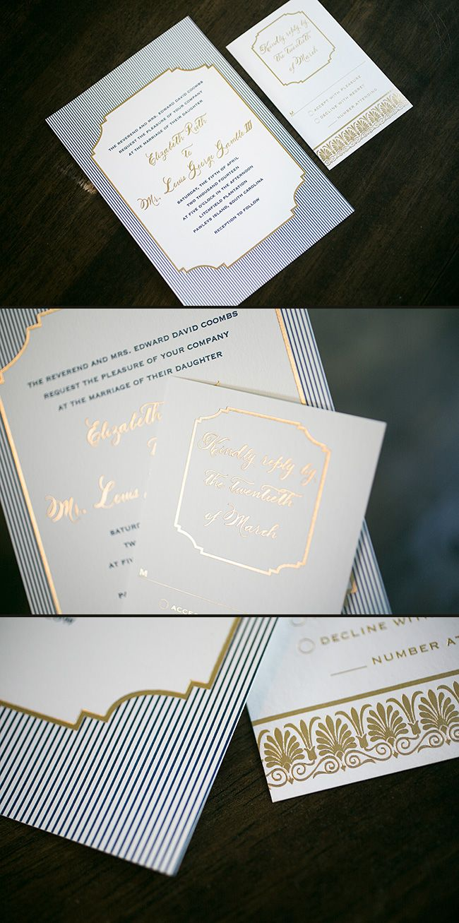 Nautical custom Emory letterpress wedding invitations from