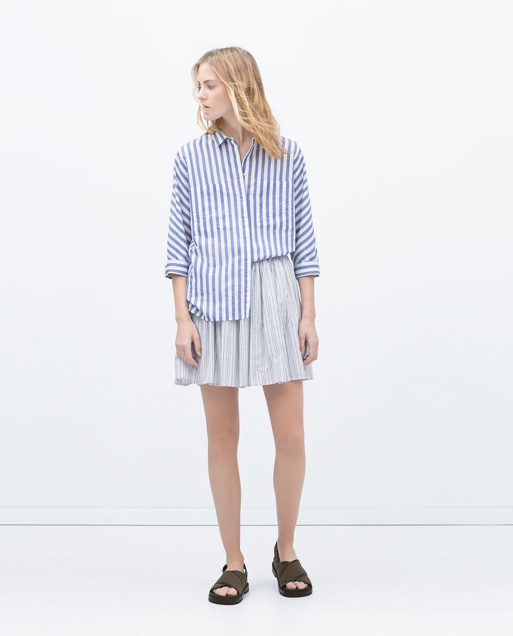 Image 1 of STRIPED SHIRT WITH KIMONO SLEEVES from Zara
