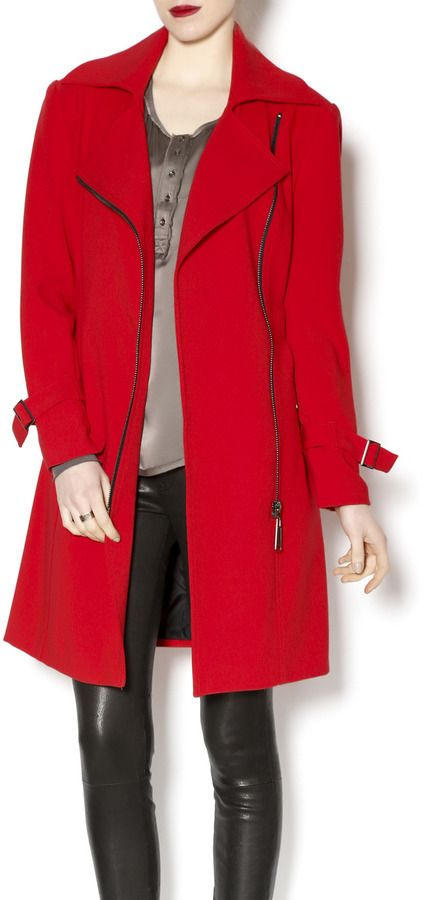 $209, Red Trenchcoat: Insight Red Trench Coat. Sold by shoptiques.com. Click for more info: https://lookastic.com/women/shop_items/324232/redirect