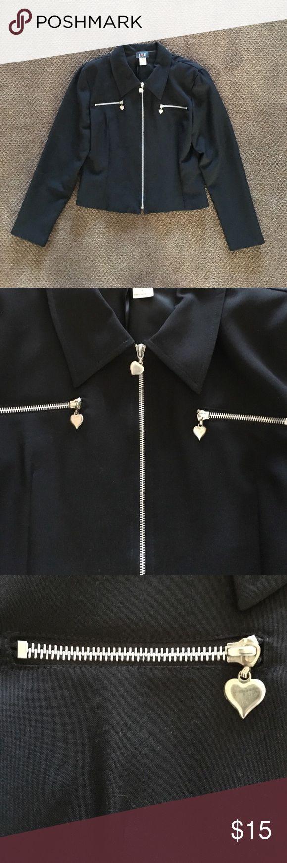 "I L U Black Zip Up Blazer 100% polyester jacket w silver zippers & heart zipper pulls. Arm length approx 23"". Great condition. Runs big so fits junior large or woman small. Smoke & pet free home. i l u Jackets & Coats Blazers"