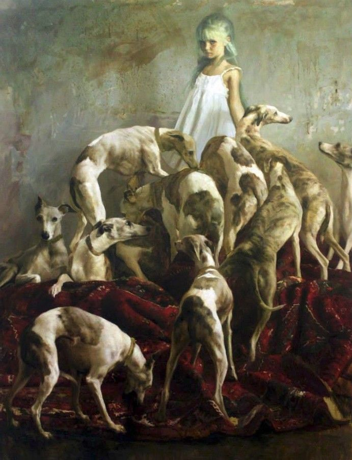 Guillermo Lorca Garcia Huidobro (Chilean: 1984) | Beautiful painting of a young girl and her whippets
