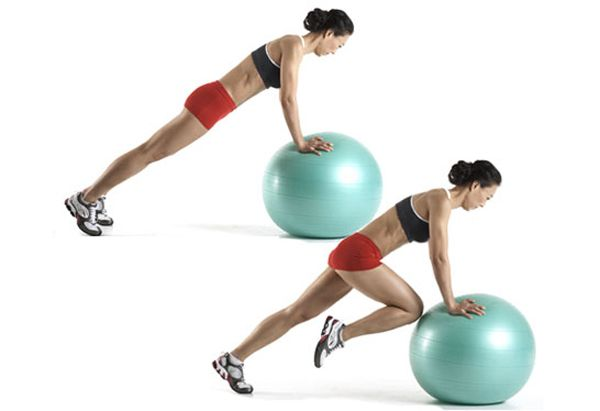 Abs: Mountain Climber with Hands on Swiss Ball || The benefit: It's one of the simplest, yet most effective ways to tighten your tummy. In fact, you'll barely have to move a muscle.