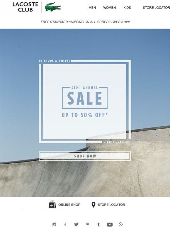 Semi-Annual Sale Starts NOW! - Lacoste