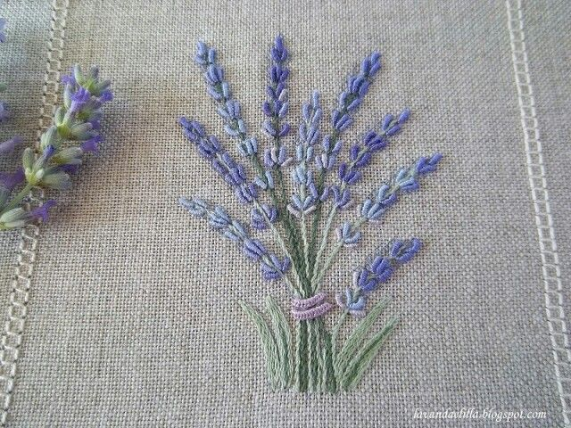 lavender embroidery on linen