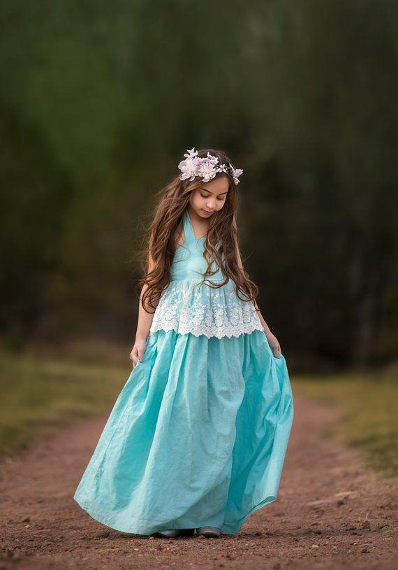 5c064bbabe Boho Beach Flower Girl Dresses Tween Toddler Blue Vintage Lace Halter Maxi  Dress for Unicorn Princess Photoshoot Evelyn