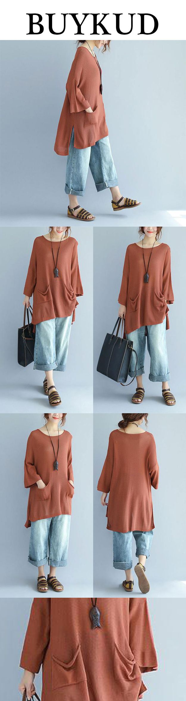 Irregular long shirt and blue jeans, can really be in!
