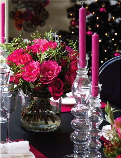 decoracin de navidad para la mesa colores rosa y negro