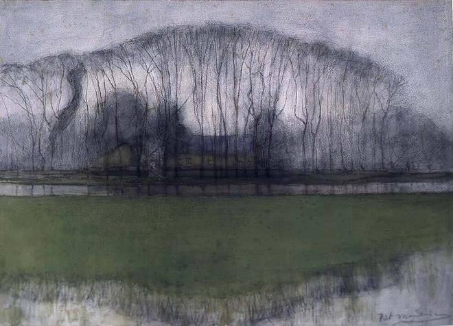 amare-habeo:  Piet Mondriaan (Dutch, 1872-1944) Row of trees in swampy landscape near Duivendrecht, 1905/1906 Watercolour, pastel and chalk, 48,5 x 67,5 cm Frans Hals Museum, Haarlem via  kundst
