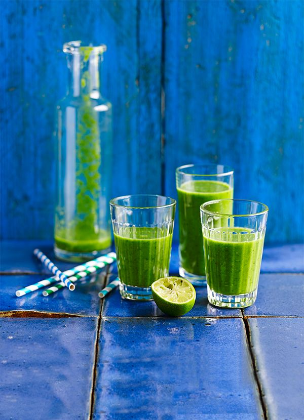Supergreen smoothie: Drink this healthy green smoothie in the morning for a quick, nutrient-packed pick-me-up. Cucumber, spinach, lime and kiwi are a great combination and the avocado adds a lovely texture.