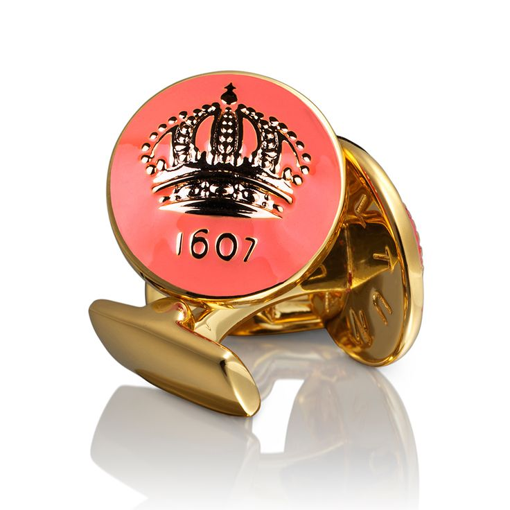 Crown Manschettknappar Guld, Peach, Skultuna