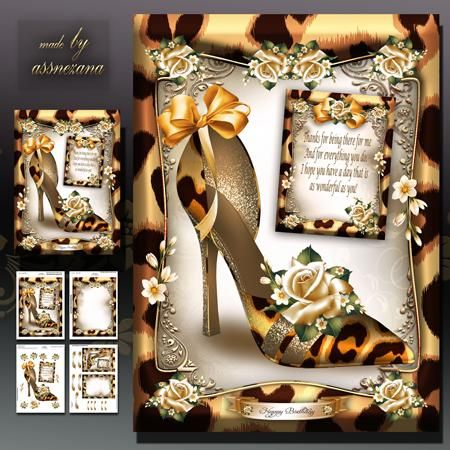 Wild Print Shoes with Roses Card Mini Kit on Craftsuprint designed by Atlic Snezana - Wild Print Shoes with Roses Card Mini Kit: 4 sheets for print with decoupage for 3D effect plus few sentiment tags (for your own personal text) - Now available for download!