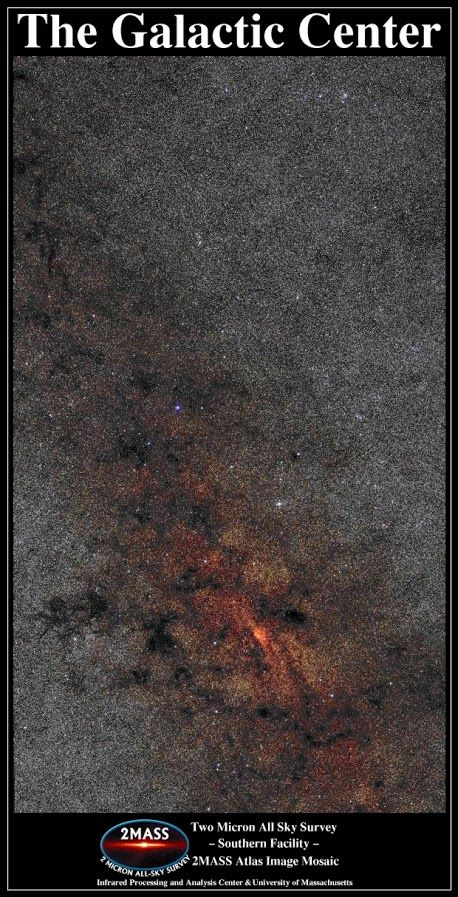 The Galactic Center in Infrared | The center of our Galaxy is a busy place. In visible light, much of the Galactic Center is obscured by opaque dust. In infrared light, however, dust glows more and obscures less, allowing nearly one million stars to be recorded in the featured photograph. The Galactic Center itself appears on the left and is located about 30,000 light years away towards the constellation of the Archer (Sagittarius).