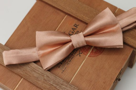 Rose Gold Tie Pre-tied Bow Tie Rose Gold Bow by OneDaintyTulip