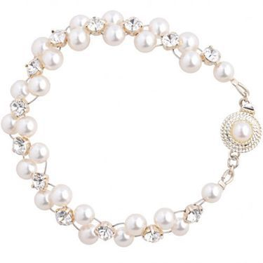 Swarovski pearl and diamante wedding bracelet with feature clasp, handmade to order