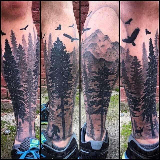 #Tattoo #Forest #Leg