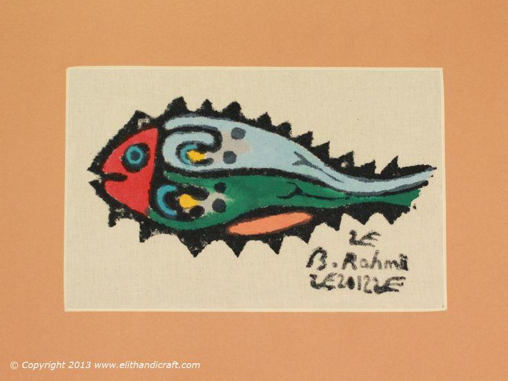 Original Bedri Rahmi Eyuboglu Pattern Block Print Hand Painting 35 x 25 cm