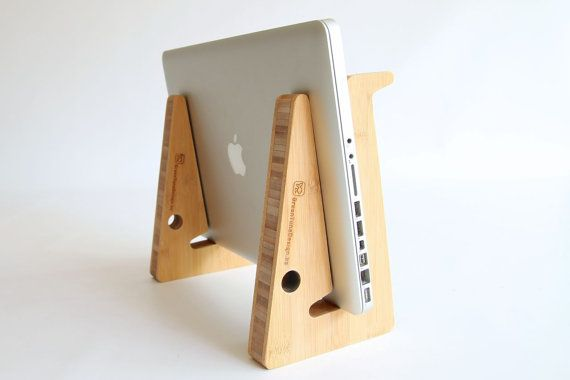 clever laptop stand, use vertical for cooling your computer with extra airflow! Perfect for gamers & geeks. Made from 3cm thick bamboo wood.