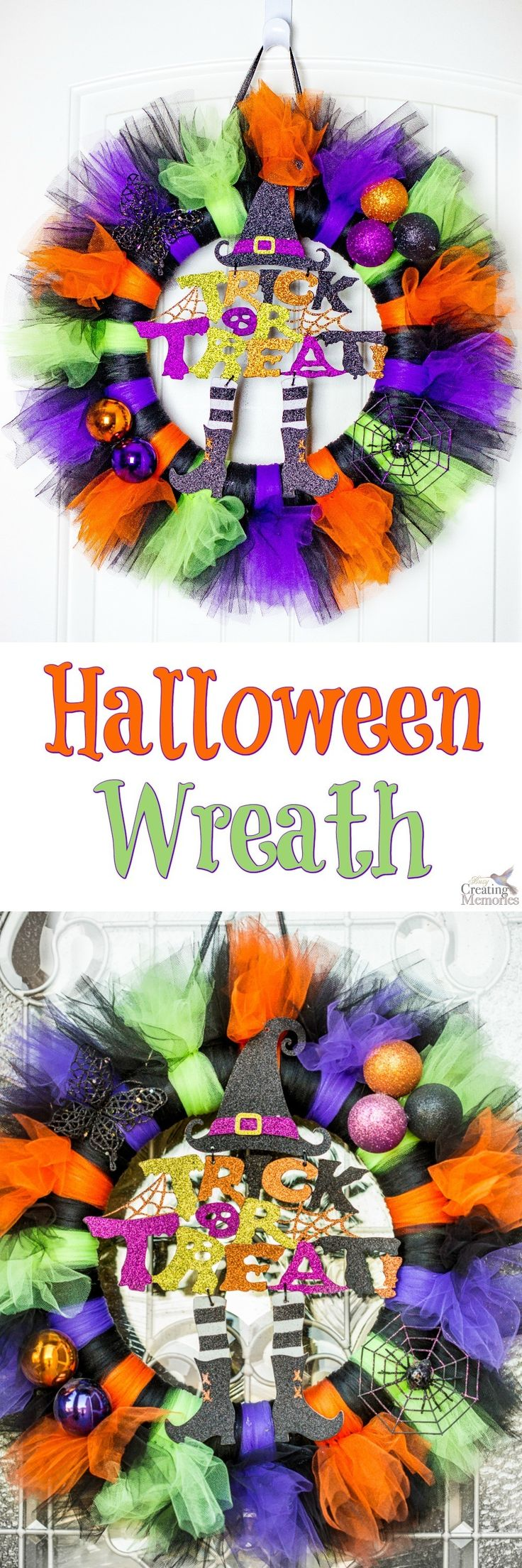 Get your house Spooky ready with this easy to make Tulle Tutu Halloween Wreath! A simple craft you can put together in under 30 minutes! Made of Tulle, Halloween sign and simple Halloween craft items.  via @2creatememories