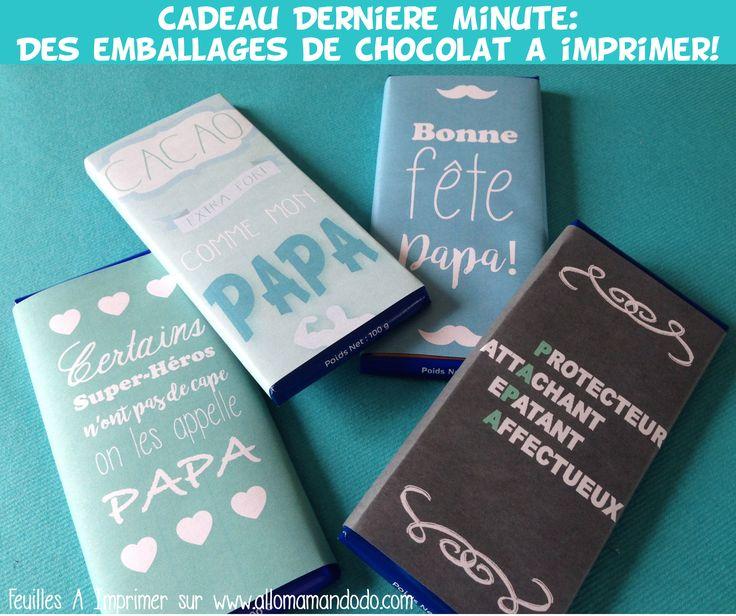 Les Papiers de Chocolat A Imprimer pour la Fête Des Pères!